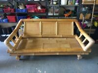 LARGE BAMBOO CONSERVATORY SOFA - Good Condition - Available with or without the cushions