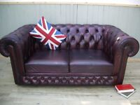 Stunning Leather Oxblood Chesterfield 2 Seater Sofa