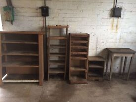 old wooden shelving units