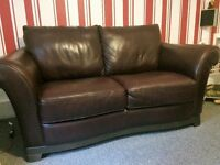 Brown leather 2 seater sofa and chair