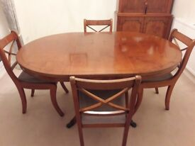 Dining Table, Chairs & Sideboard set, Yew Finish in used but good condition