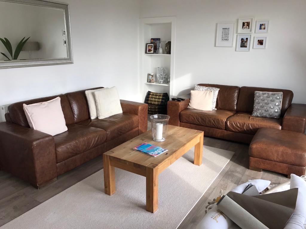 Natuzzi italian leather sofa set