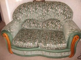 Small 2 Seater Sofa in Soft Green Draylon with pale contrast motif Excellent Condition Hardly Used