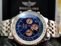 New boxed with paperstwo tone rose gold bracelet blue dial Breitling Navitimer watch sweeping