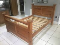 """DOUBLE BED FRAME 4ft6"""". SOLID PINE HEAVY"""