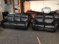 Black Leather 3+2 Reclining Sofa Set