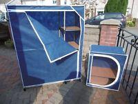 Camping larder 60 x 30 x 80cm Camping wardrobe 180 x 50 x 140cm easily assemble, packs away flat.