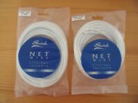 NEW 2 pks 5 m each Swish net curtain wire 500-550 cms c/w fittings. £5 ovno both/£3 ovno each.