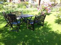 Wooden Garden table and 3 chairs with 2 benches
