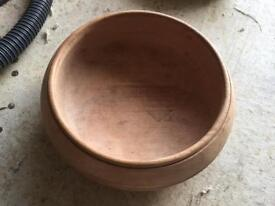 Solid hand carved wooden fruit bowl