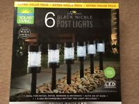 ( New and Sealed ) Solar Powered Nickel Post Lights 5pk - White
