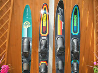 Unused and almost new water skis and gloves.