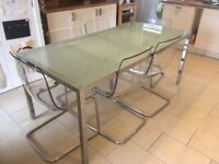 Stunning IKEA Tobias Dining Table & 6 chairs with Glass Top and Stainless Steel ** Only £220**