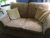 4 piece suite - 3 seater sofa, 2 seater sofa, armchair and footstool with 4 cushions- Thornliebank