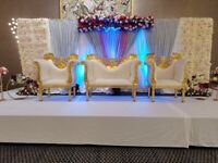 Asian Wedding Stages, Mehndi Stages, Chair covers, Walkways & Centrepieces for Hire