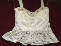 LIPSY cream lacy top size 12. BRAND NEW NO TAGS SORRY. Weight gain forces sale.......