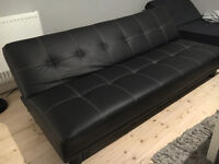 Elysa Black Leather 3 Seater Sofa Bed - Sold To Highest Bidder (Used - Great Condition)