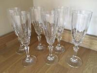 6 x Crystal cut champagne flutes