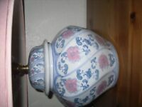 blue pink and white lamp with shade