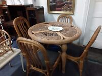 Conservatory table and chairs wicker