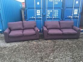 DFS Zuma Fabric Range purple 3 seater sofa with two seater sofa RRP £1295