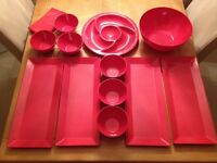 Red Melamine Party/Picnic Platters and Bowls, dishwasher safe in very good condition