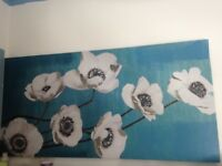 Long or Tall Canvas on Wood Stretcher Oil Painting of Flowers as in Photo
