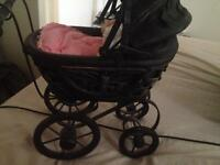 Heavy small vintage pram for porcelain dolls and doll