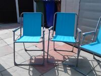 4 blue garden chairs collapsible