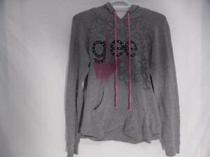 GLEE pullover sweatshirt hoodie, gray with GLEE PRINT and glitter, heart print in hoodie, size large EUC