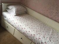 Day-bed with 3 drawers converts to double bed IKEA Hemnes in white