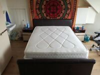 Queen size sleigh bed with two mattresses