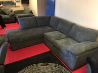 Ex Display Grey Amalfi Left Hand Standard Back Fabric Corner Chaise Sofa (Excellent Condition)