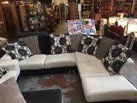 White and black leather corner sofa