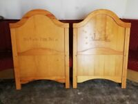 Disney Winnie The Pooh Engraved Pine Wooden Cot Headboard & Footboard