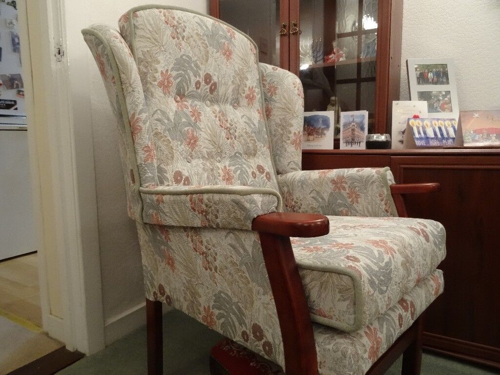 Wing back armchair.