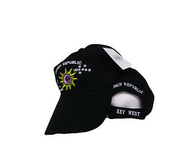 Key West Conch Republic 1828 Black Embroidered Cap Hat