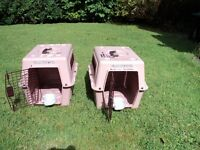 CAT (or small pet) CARRIERS. VARI KENNEL carriers, 2 used, in pink.