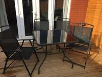 Garden Furniture Glass top table and 4 chairs