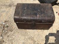 Vintage old metal trunk
