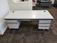 Office desk for sale x 3 - collection only - 210cm x 80cm - £20 each - good condition with drawers