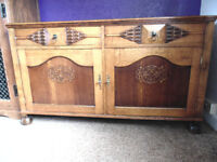 vintage sideboard solid oak a class piece of furniture.