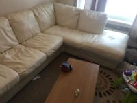Real Italian Leather Cream CORNER SOFA. Free to collector.