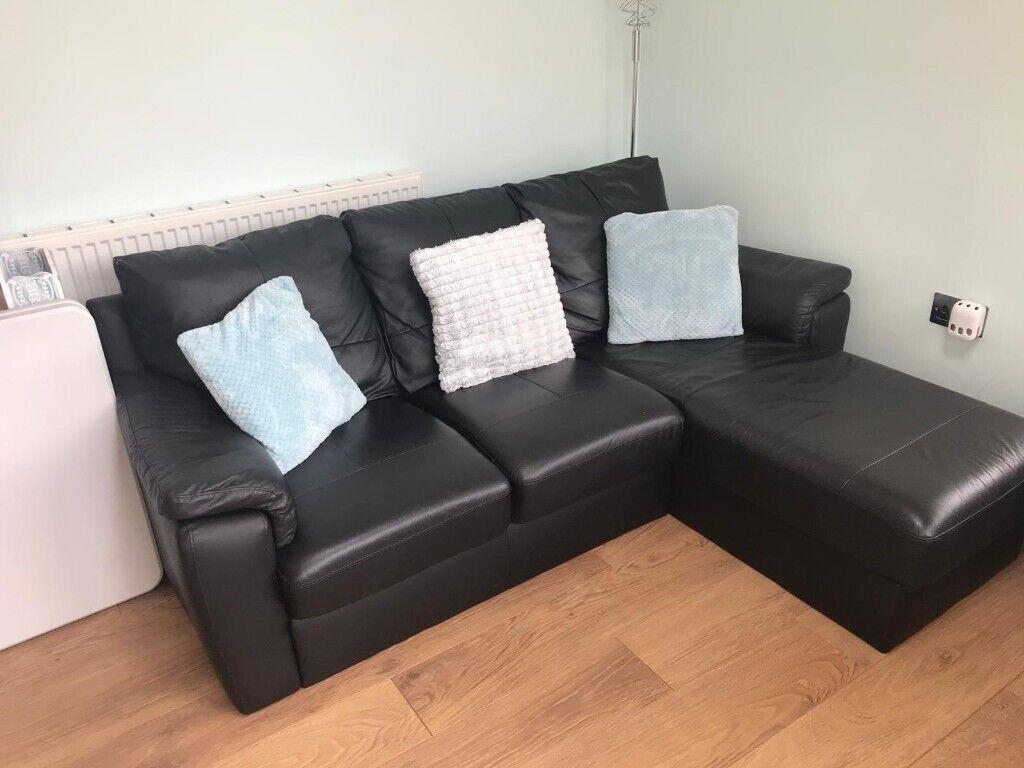 L Shaped Leather Sofa In Ashington