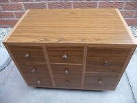 Cupboard with multiple draws on casters (x2; handcrafted)