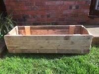 Large wooden outdoor garden planter