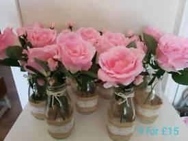 Roses in jars x9
