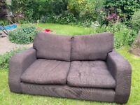 Brown fabric sofa two seater