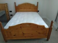 Pine Double bed, mattress, chest of drawers, 2x bedside cabinets & mirror