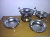 balti dishes with stands x4